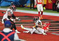 7th February 2021, Tampa Bay, Florida, USA;  Tampa Bay Buccaneers Wide Receiver Antonio Brown (81) catches a pass for a touchdown during Super Bowl LV between the Kansas City Chiefs and the Tampa Bay Buccaneers on February 07, 2021, at Raymond James Stadium