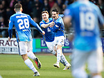 Dundee v St Johnstone…29.12.18…   Dens Park    SPFL<br />Scott Tanser celebrates his goal with Liam Craig<br />Picture by Graeme Hart. <br />Copyright Perthshire Picture Agency<br />Tel: 01738 623350  Mobile: 07990 594431