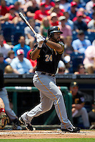 Pittsburgh Pirates  third baseman Pedro Alvarez #24 watches his first inning home run during the Major League Baseball game against the Philadelphia Phillies on June 28, 2012 at Citizens Bank Park in Philadelphia, Pennsylvania. The Pirates defeated the Phillies 5-4. (Andrew Woolley/Four Seam Images).
