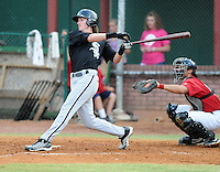 Outfielder Kyle Robinson (32) of the Bristol White Sox, Appalachian League affiliate of the Chicago White Sox, in a game against the Elizabethton Twins on August 18, 2011, at Joe O'Brien Field in Elizabethton, Tennessee. Elizabethton defeated Bristol, 13-3. (Tom Priddy/Four Seam Images)