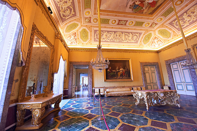 """""""The Antichamber to the bedroom of Francis II"""". The vault of the room is painted with a trompe-l'oeil depicting a Bacchanal by Franz Hill. .  The Bourbon Kings of Naples Royal Palace of Caserta, Italy."""