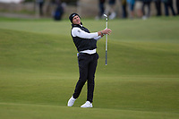 3rd October 2021; The Old Course, St Andrews Links, Fife, Scotland; European Tour, Alfred Dunhill Links Championship, Fourth round; Danny Willett of England reacts to his shot on the 2nd hole during the final round of the Alfred Dunhill Links Championship on the Old Course, St Andrews