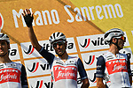 Vincenzo Nibali (ITA) and Trek-Segafredo team at sign on before the start of the 111th edition of Milan- San Remo 2020, running 305km from Milan to San Remo, Italy. 8th August 2020.<br /> Picture: LaPresse/Gian Mattia D'Alberto | Cyclefile<br /> <br /> All photos usage must carry mandatory copyright credit (© Cyclefile | LaPresse/Gian Mattia D'Alberto)