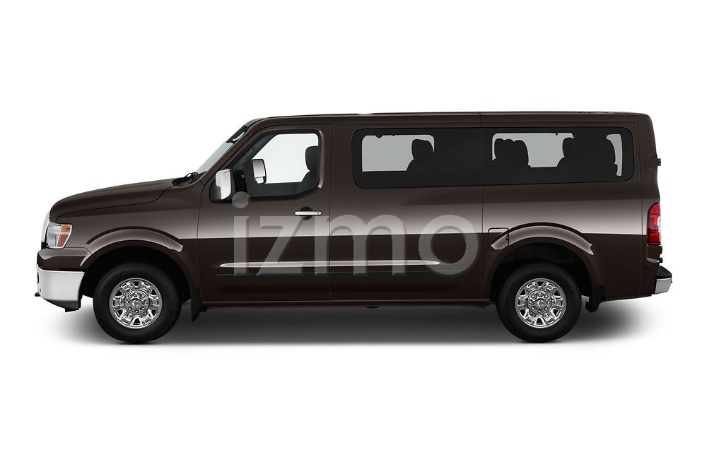 Car driver side profile view of a 2019 Nissan NV Passenger SL 4 Door Passenger Van