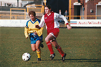 Kelly Smith of Wembley and Gillian Coulthard of Doncaster during Doncaster Belles vs Wembley Ladies, FA Women's Premier League Cup Final Football at Underhill, Barnet FC on 10th March 1996