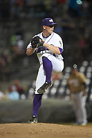 Winston-Salem Dash relief pitcher Matt Foster (14) in action against the Down East Wood Ducks at BB&T Ballpark on May 12, 2018 in Winston-Salem, North Carolina. The Wood Ducks defeated the Dash 7-5. (Brian Westerholt/Four Seam Images)