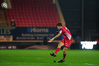 Dan Jones of Scarlets kicks a penalty during the European Rugby Challenge Cup Round 1 match between the Scarlets and London Irish at Parc Y Scarlets in Llanelli, Wales, UK. Saturday 16th November 2019