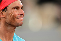 11th October 2020, Roland Garros, Paris, France; French Open tennis, mens singles final 2020;  Rafael Nadal Esp looks up to the stands as he takes control of the match against Djokovic