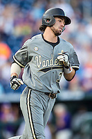 Vanderbilt Commodores shortstop Dansby Swanson (7) runs to first base during the NCAA College baseball World Series against the TCU Horned Frogs on June 16, 2015 at TD Ameritrade Park in Omaha, Nebraska. Vanderbilt defeated TCU 1-0. (Andrew Woolley/Four Seam Images)