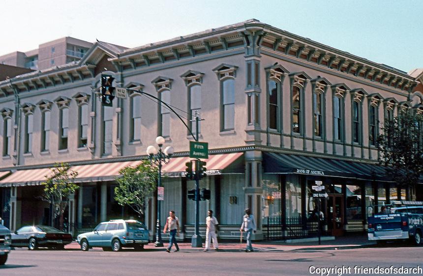 San Diego: Backesto Block 1887. NW corner of Market & 5th Ave. Burkett & Osgood. (Photo 1982.)