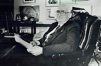 1985 FILE PHOTO - ARCHIVES -<br /> <br /> Framework for future: Former lieutenant-governor John Aird says the voices of the people have been heard and acted on.<br /> <br /> 1985<br /> <br /> PHOTO :  Erin Comb - Toronto Star Archives - AQP