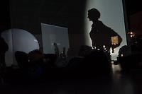 """Wiederauflage der Lichtinstallation """"The Proliferation of the sun"""" des Kuenstlers Otto Piene in der Neue Nationalgalerie in Berlin. Piene hat """"The Proliferation of the sun"""" in den 60er Jahren als """"poetische Raumfahrt"""" bezeichnet.<br /> 30.7.2014, Berlin<br /> Copyright: Christian-Ditsch.de<br /> [Inhaltsveraendernde Manipulation des Fotos nur nach ausdruecklicher Genehmigung des Fotografen. Vereinbarungen ueber Abtretung von Persoenlichkeitsrechten/Model Release der abgebildeten Person/Personen liegen nicht vor. NO MODEL RELEASE! Don't publish without copyright Christian-Ditsch.de, Veroeffentlichung nur mit Fotografennennung, sowie gegen Honorar, MwSt. und Beleg. Konto: I N G - D i B a, IBAN DE58500105175400192269, BIC INGDDEFFXXX, Kontakt: post@christian-ditsch.de<br /> Urhebervermerk wird gemaess Paragraph 13 UHG verlangt.]"""