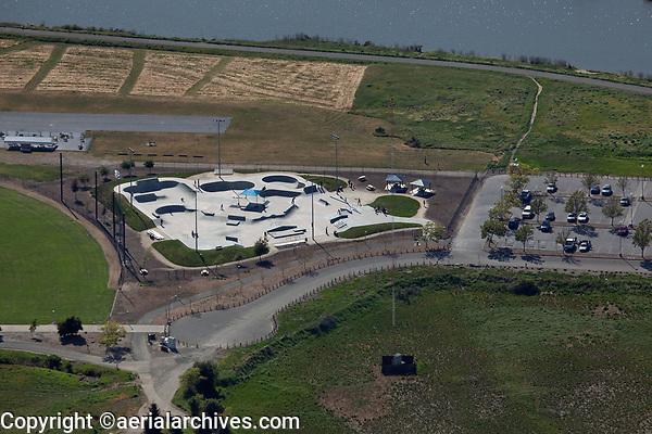 aerial photograph of the Napa Skatepark, Kennedy Park,  Napa, California located along the Napa River