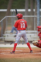 Washington Nationals Edwin Lora (10) at bat during a minor league Spring Training game against the St. Louis Cardinals on March 27, 2017 at the Roger Dean Stadium Complex in Jupiter, Florida.  (Mike Janes/Four Seam Images)