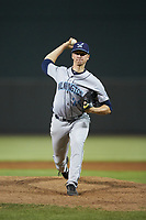 Wilmington Blue Rocks starting pitcher Brady Singer (26) in action against the Winston-Salem Dash at BB&T Ballpark on April 16, 2019 in Winston-Salem, North Carolina. The Blue Rocks defeated the Dash 4-3. (Brian Westerholt/Four Seam Images)