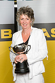 Mrs Bell receives the Sports Man of the Year trophy on behalf of her son Daniel Bell. ASB College Sport Young Sportperson of the Year Awards 2008 held at Eden Park, Auckland, on Thursday November 13th, 2008.