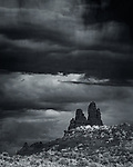 Church Rock, New Mexico (Infrared).  A summer monsoon rainstorm hovers over this dramatic landmark outside the town of Gallup near the western edge of the state.<br /> <br /> Image ©2019 James D Peterson