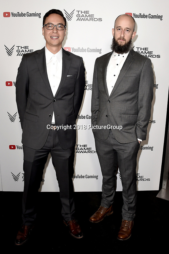 LOS ANGELES - DECEMBER 6: (L-R) Kaz Aruga and Adam Brennecke attend the 2018 Game Awards at the Microsoft Theater on December 6, 2018 in Los Angeles, California. (Photo by Scott Kirkland/PictureGroup)
