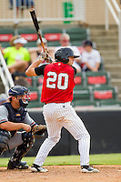 Bill Rice (20) of the Kannapolis Intimidators at bat against the Rome Braves at CMC-Northeast Stadium on August 5, 2012 in Kannapolis, North Carolina.  The Intimidators defeated the Braves 9-1.  (Brian Westerholt/Four Seam Images)