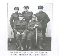 BNPS.co.uk (01202 558833)<br /> Pic: Spink&Son/BNPS<br /> <br /> Pictured: Company Sergeant Major Frederick Thorndyke (sat down on the left)<br /> <br /> The medals of a fearless British officer who stormed three machine gun posts during a daring assault have emerged for sale for £9,000.<br /> <br /> Company Sergeant Major Frederick Thorndyke, of the City of London Battalion, London Regiment, led a three man team in capturing two posts under heavy German fire.<br /> <br /> Not satisfied, he attempted to seize a third but was wounded during the dramatic action near Albert in the Battle of Amiens in August 1918.<br /> <br /> He was awarded a prestigious Military Cross for 'conspicuous courage and qualities of leadership' when all the officers around him had been killed or wounded.<br /> <br /> It was his third gallantry award in two years after receiving the Military Medal and Distinguished Conduct Medal for his Western Front heroics. His medals are going under the hammer with London-based auctioneers Spink & Son.