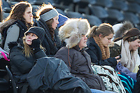 Fans brave winter weather to watch an NCAA baseball game between the Towson Tigers and the Wake Forest Demon Deacons at Wake Forest Baseball Park on February 15, 2014 in Winston-Salem, North Carolina.  (Brian Westerholt/Four Seam Images)