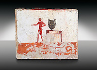 "Greek Fresco on the inside of Tomb of  the Diver  [La Tomba del Truffatore]. The tomb is painted with the true fresco technique and its importance lies in being ""the only example of Greek painting with figured scenes dating from the Orientalizing, Archaic, or Classical periods to survive in its entirety. This panel from the short side of the tomb shows a man with a wreathed wine crater . Paestrum, Andriuolo.  (480-470 BC  )"