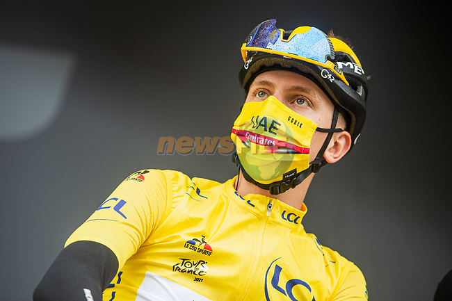 Yellow Jersey Tadej Pogacar (SLO) UAE Team Emirates at sign on before Stage 17 of the 2021 Tour de France, running 178.4km from Muret to Saint-Lary-Soulan Col du Portet, France. 14th July 2021.  <br /> Picture: A.S.O./Charly Lopez   Cyclefile<br /> <br /> All photos usage must carry mandatory copyright credit (© Cyclefile   A.S.O./Charly Lopez)