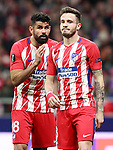 Atletico de Madrid's Diego Costa (l) and Saul Niguez during Europa League Quarter-finals, 1st leg. April 5,2018. (ALTERPHOTOS/Acero)