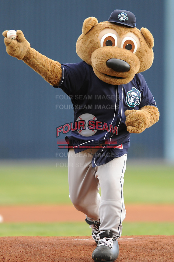 Asheville Tourists Ted E Tourists delivers the first pitch before a game against  the Lexington Legends at McCormick Field in Asheville,  North Carolina;  April 16, 2011. Lexington defeated Aheville 13-7.  Photo By Tony Farlow/Four Seam Images