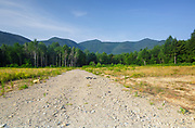Old landing area of the Kanc 7 timber harvest project in the area of Forest Road 510 along the Kancamagus Scenic Byway (route 112) in the White Mountains, New Hampshire. This scene shows how the landing area looked in August 2014 (it was no longer be used at this point).