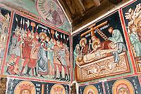 Zypern (Süd), Fresken in der Scheunenkirche Agios Archangelios Michael in Pedoulas im Troodos, erbaut im 15. Jh., Unesco-Weltkulturerbe