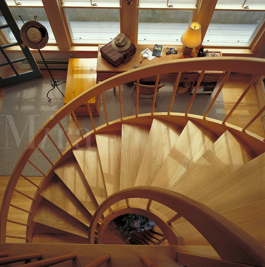 Maine Cottage Spiral Stairs. Islesboro Island Maine United States Summer Cottage.