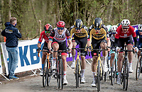 Leading bunch with Wout van Aert (BEL/Jumbo-Visma) up the infamous Kemmelberg<br /> <br /> 83rd Gent-Wevelgem - in Flanders Fields (ME - 1.UWT)<br /> 1 day race from Ieper to Wevelgem (BEL): 254km<br /> <br /> ©kramon