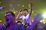 © Joel Goodman - 07973 332324 . No Editorial syndictaion permitted . 09/09/2017. Manchester , UK . Crowd dances to Blossoms . We Are Manchester reopening charity concert at the Manchester Arena with performances by Manchester artists including  Noel Gallagher , Courteeners , Blossoms and the poet Tony Walsh . The Arena has been closed since 22nd May 2017 , after Salman Abedi's terrorist attack at an Ariana Grande concert killed 22 and injured 250 . Money raised will go towards the victims of the bombing . Photo credit : Joel Goodman