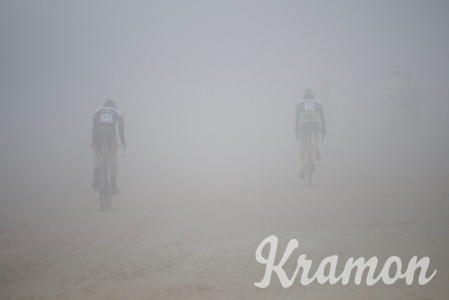 riders on the beach/riders in the mist<br /> <br /> U23 race<br /> Belgian National CX Championships 2017