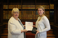 Agnieszka Alicjia Ganska (R) receives her certificate at the Citizenship Ceremony at Carmarthen Register Office, Carmarthenshire, Wales, UK. Monday 22 August 2016