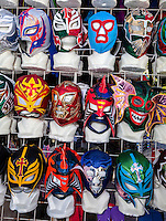 Facemasks at Souvenir Shop, Playa del Carmen, Riviera Maya, Yucatan, Mexico.