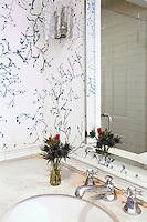contemporary wallpaper in the bathroom