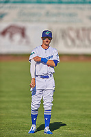 Josh McLain (15) of the Ogden Raptors before the game against the Grand Junction Rockies at Lindquist Field on June 15, 2019 in Ogden, Utah. The Raptors defeated the Rockies 12-11. (Stephen Smith/Four Seam Images)