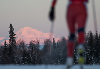Morning light illuminates Denali during the 2018 U.S. National Cross Country Ski Championships at Kincaid Park in Anchorage.