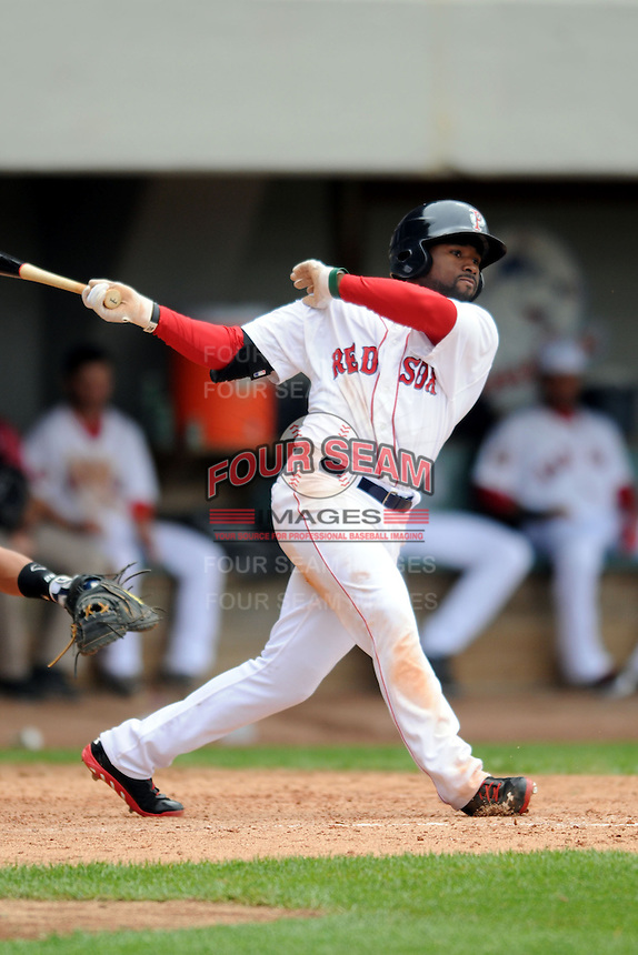 Pawtucket Red Sox outfielder Jackie Bradley Jr.#19 during a game versus the Indianapolis Indians at McCoy Stadium in Pawtucket, Rhode Island on May 19, 2013.  (Ken Babbitt/Four Seam Images)