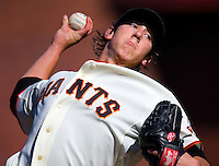 SAN FRANCISCO - JULY 3:  Tim Lincecum of the San Francisco Giants pitches during the game against the Chicago Cubs at AT&T Park in San Francisco, California on July 3, 2008.  The Giants defeated the Cubs 8-3.  Photo by Brad Mangin