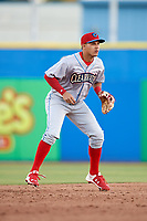 Clearwater Threshers shortstop Emmanuel Marrero (33) during a game against the Dunedin Blue Jays on April 8, 2017 at Florida Auto Exchange Stadium in Dunedin, Florida.  Dunedin defeated Clearwater 12-6.  (Mike Janes/Four Seam Images)