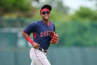 FCL Red Sox second baseman Antoni Flores (2) during a game against the FCL Pirates Gold on July 1, 2021 at Pirate City in Bradenton, Florida.  (Mike Janes/Four Seam Images)