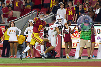 LOS ANGELES, CA - SEPTEMBER 11: Chris Steele #8 of the USC Trojans is called for pass interference on a pass intended for Brycen Tremayne #81 of the Stanford Cardinal during a game between University of Southern California and Stanford Football at Los Angeles Memorial Coliseum on September 11, 2021 in Los Angeles, California.
