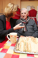 """NO REPRO FEE. 21/11/2011. New Alzheimer Day Centre at full capacity as demand for Alzheimer services grow. Minister for Social Protection Joan Burton T.D. officially opened """"Failte Day Centre"""", which will provide dementia-specific, person-centred care to people with dementia and their carers in Hartstown, Clonsilla. The Minister is pictured with client Tim Canavan from the Navan Rd. The Alzheimer Society of Ireland, in partnership with the HSE, is currently operating 3 days a week caring for clients living with dementia who live in Castleknock. Picture James Horan/Collins Photos"""