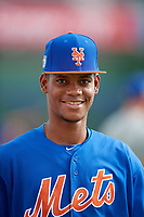 GCL Mets pitcher Jose Moreno (87) before the first game of a doubleheader against the GCL Nationals on July 22, 2017 at The Ballpark of the Palm Beaches in Palm Beach, Florida.  GCL Mets defeated the GCL Nationals 1-0 in a seven inning game that originally started on July 17th.  (Mike Janes/Four Seam Images)