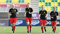 20190227 - LARNACA , CYPRUS :  Belgian Ella Van Kerkhoven , Laura De Neve , Laura Deloose and Lola Wajnblum pictured during a women's soccer game between the Belgian Red Flames and Slovakia , on Wednesday 27 February 2019 at the AEK Arena in Larnaca , Cyprus . This is the first game in group C for Belgium during the Cyprus Womens Cup 2019 , a prestigious women soccer tournament as a preparation on the Uefa Women's Euro 2021 qualification duels. PHOTO SPORTPIX.BE | DAVID CATRY