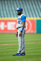 Kentucky Wildcats student assistant coach John T. Shelby (20) coaches first base against the Houston Cougars in game two of the 2018 Shriners Hospitals for Children College Classic at Minute Maid Park on March 2, 2018 in Houston, Texas.  The Wildcats defeated the Cougars 14-2 in 7 innings.   (Brian Westerholt/Four Seam Images)