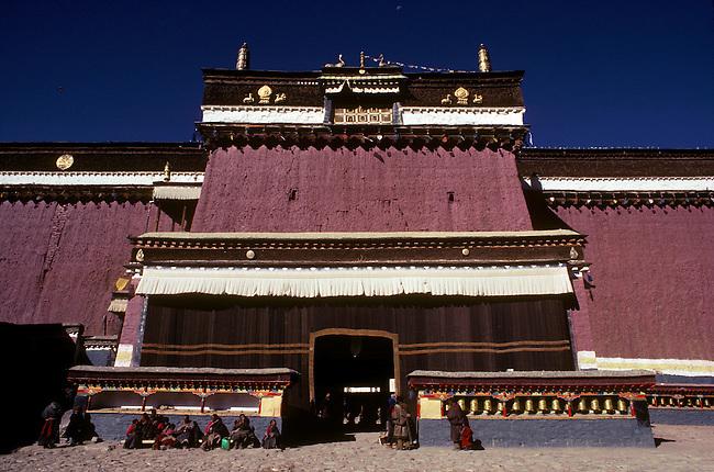 Sakya Monastery & pilgrims - Sakya, Tibet.